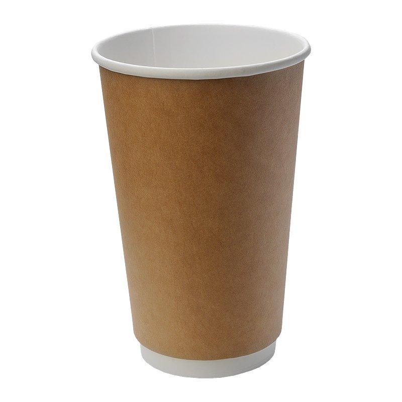 Стакан для холодного и горячего, 0.4/0.518л, коричневый, картон, двухслойный, 360 шт