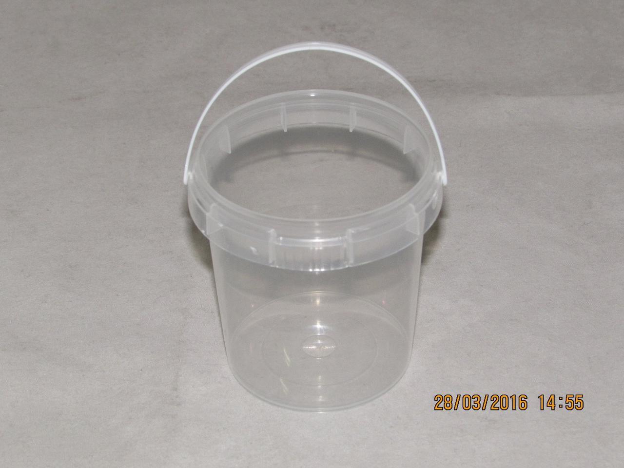 """Контейнер прес./мёд 155 мл, """"банка"""" d=69мм, h=66 мм, с ручкой, полупрозрачный, контр. замок, ПП, 900 шт"""