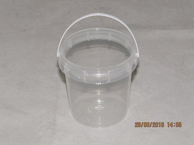 """Контейнер прес./мёд 155 мл, """"банка"""" d=69мм, h=66 мм, с ручкой, полупрозрачный, контр. замок, ПП, 900 шт, фото 2"""