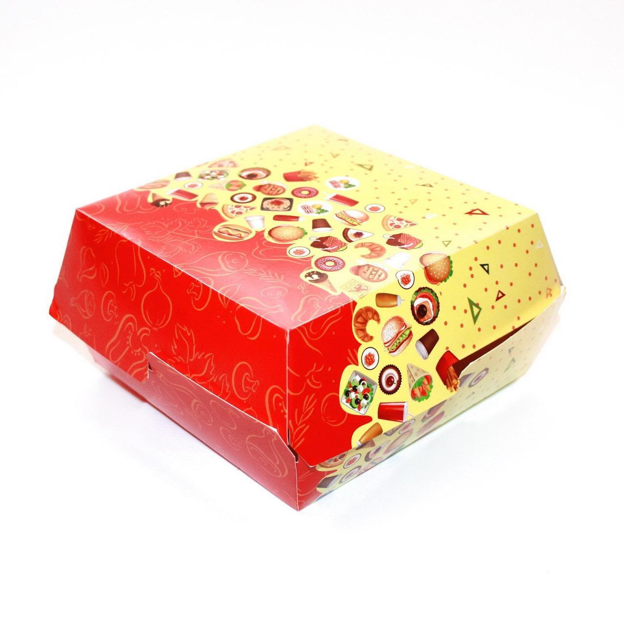 Коробка д/бургера 120х120х70мм с печатью Рог изобилия, 300 шт