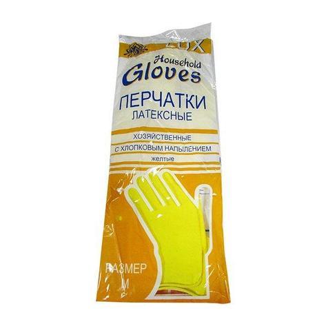 Перчатки ЛЮКС хоз. латексные с хлопковым напылением каучук на хлопк. основе Люкс-класс, особо прочные размер М, фото 2