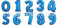 Воздушные шары цифры синие со звездами 101 сантиметр, от 0 до 9