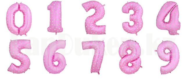 Vozdushnyj shar cifra rozovyj s serdechkami 101 santimetr Edinica