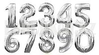 Воздушные шары цифры серебряные 40 сантиметров, от 0 до 9