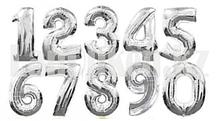 Воздушные шары цифры серебряные 101 сантиметр, от 0 до 9
