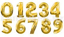 Воздушные шары цифры золотые 40 сантиметров, от 0 до 9