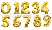 Воздушные шары цифры золотые 101 сантиметр, от 0 до 9