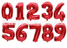 Воздушные шары цифры красные 81 сантиметр, от 0 до 9