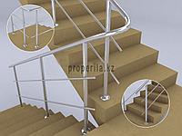Перила из нержавейки для лестниц (2 ригеля) тип 2