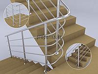 Перила для лестниц из нержавейки (4 ригеля) тип 2