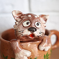 Керамический горшок Кот