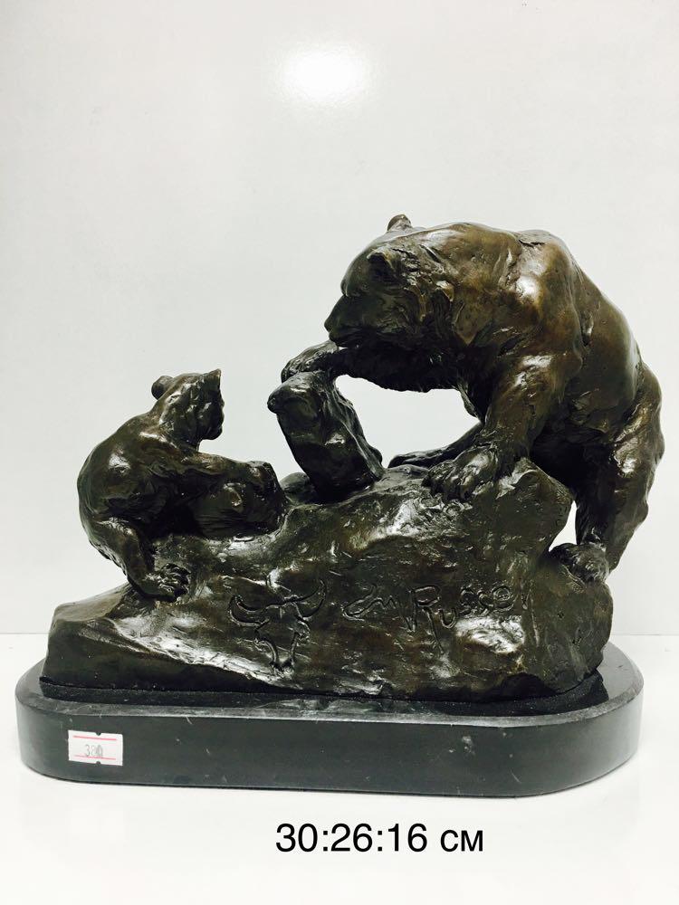"""Бронзовая статуэтка """"Медвежонок с медведицей """" - фото 1"""