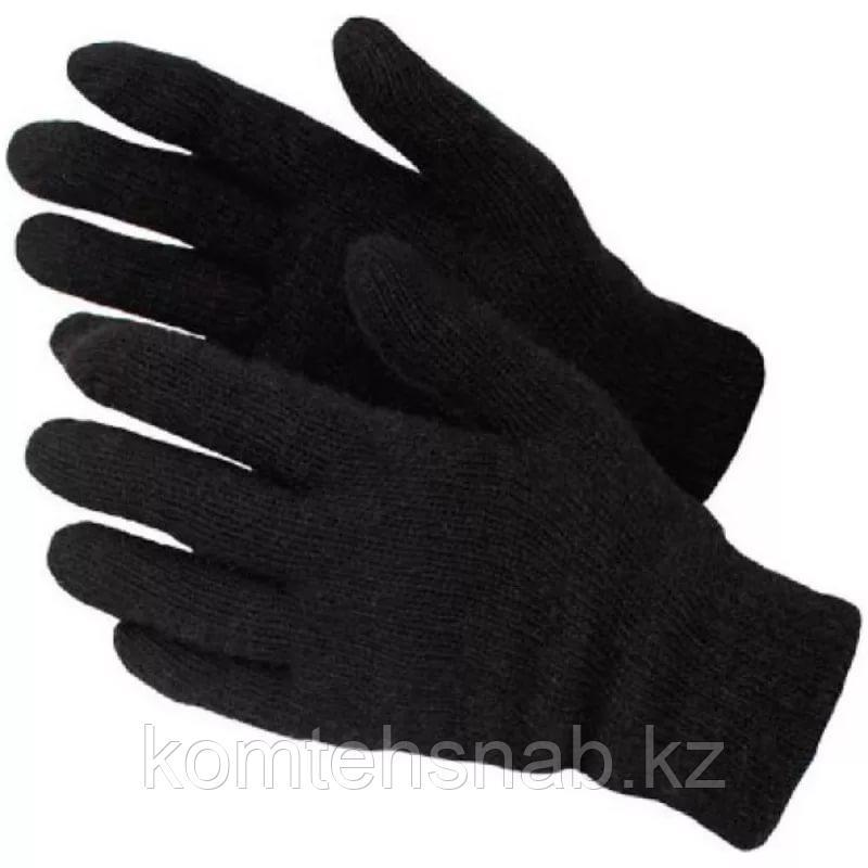 Перчатки шерстяные утепленные черные