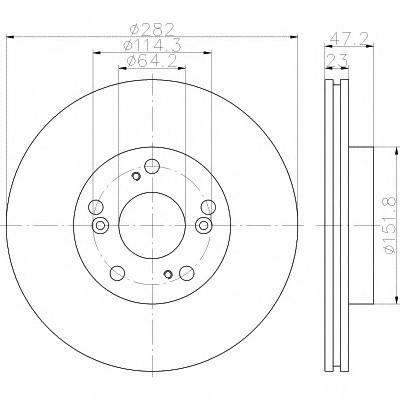 Тормозные диски  Honda  Civic (05->  годов выпуска,  передние, D282, Optimal)