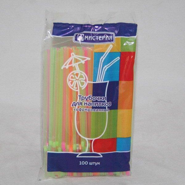Трубочки д/коктейля гофр. d=5мм L=210мм, флюоресцентн. цвет.ПП, 100 шт