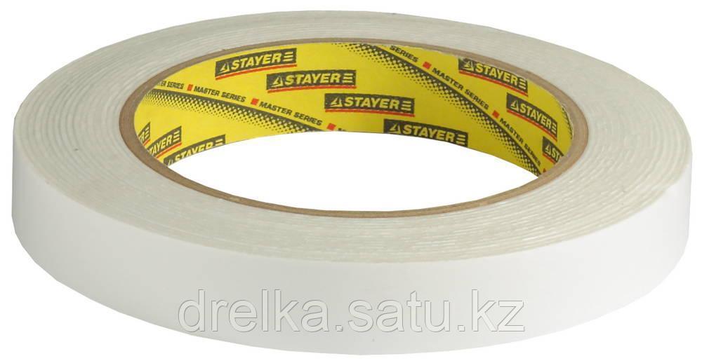 Двухсторонняя клейкая лента на вспененной основе, STAYER Professional 12231-19-05, белая, 19мм х 5м
