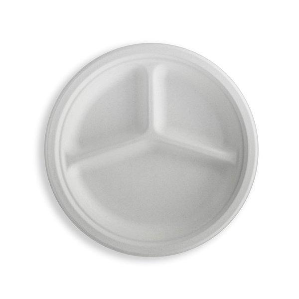 Тарелка кругл., d 262мм, 3-секц., целлюлоза, 350 шт