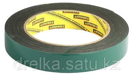 Двухсторонняя клейкая лента на вспененной основе, STAYER Professional 12233-19-05, черная, 19мм х 5м, фото 2
