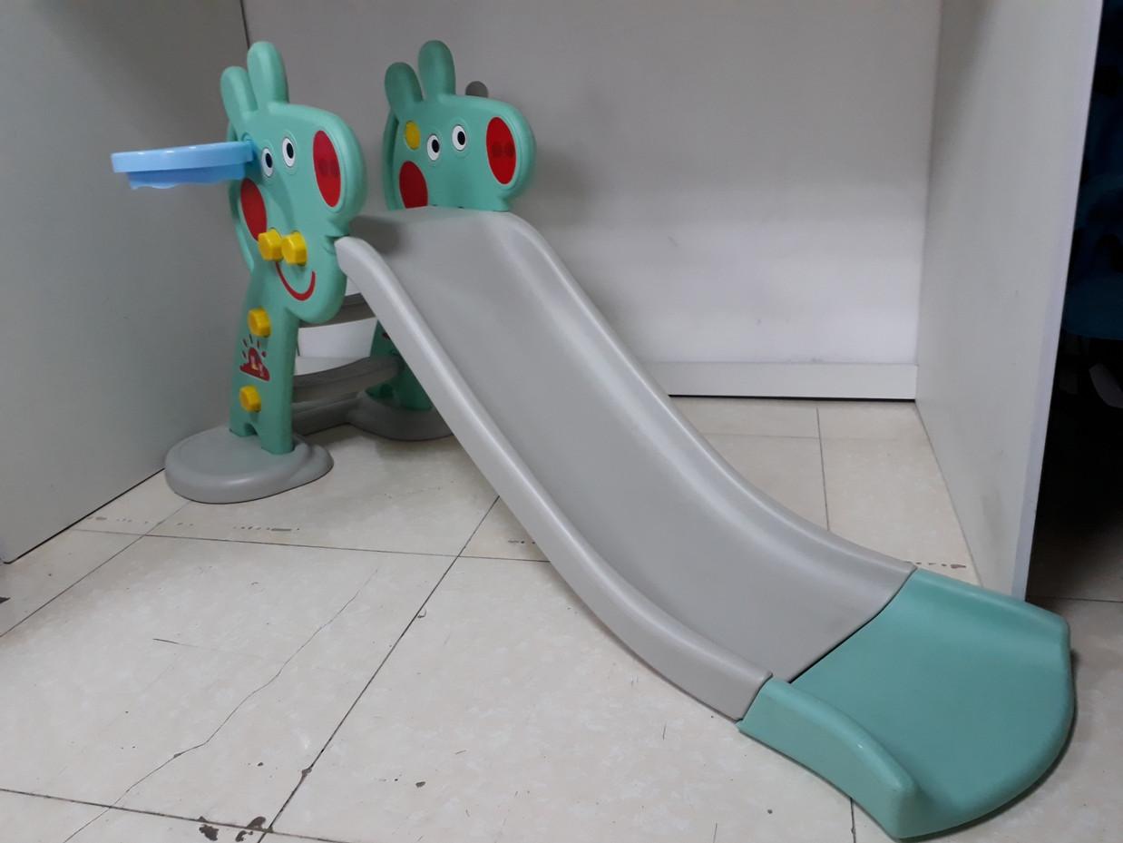 Детская игровая горка Свинка Пеппа с корзиной и рогом - удлиненная