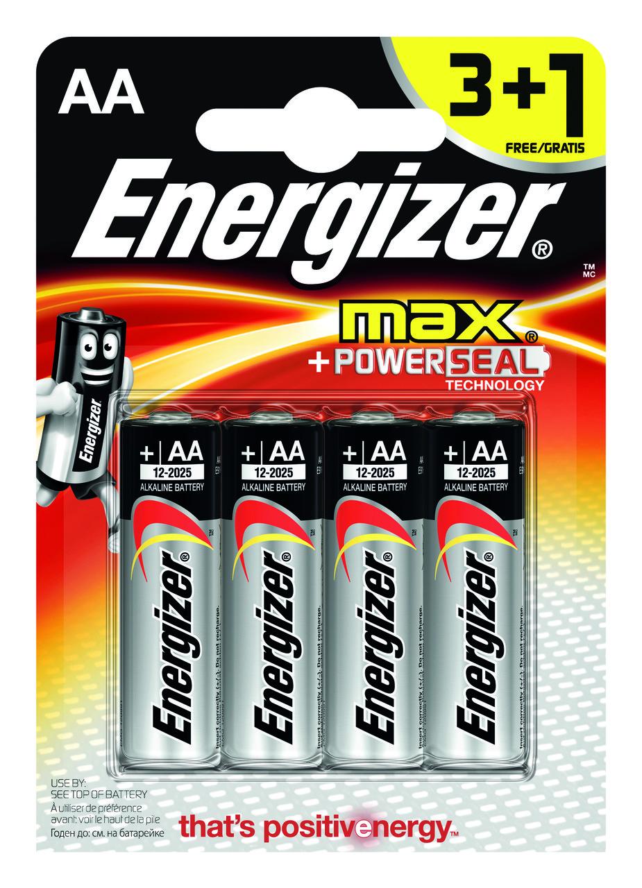 Элемент питания LR6 AA Energizer MAX Alkaline 4шт, батарейки
