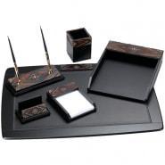 Набор настольный руководителя Delucci 6 предметов, черный, темно-коричневый орех/декоративный камень.