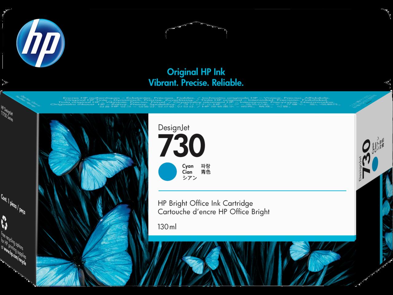 HP P2V62A Картридж голубой HP 730 Cyan Ink Cartridge for DesignJet T1700, 130 ml.