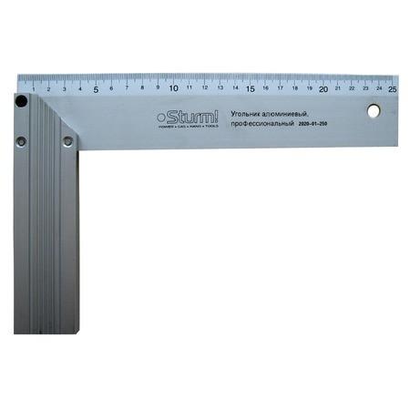 Угольник строительный (алюминиевый) 25 см (prem)