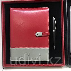 Бизнес набор - ручка, блокнот с флешкой и встроенным пауэрбанком