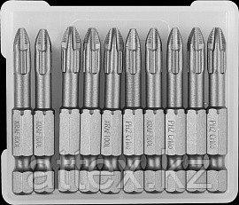 """Биты """"X-DRIVE"""" торсионные кованые, обточенные, KRAFTOOL 26121-2-50-10, Cr-Mo сталь, тип хвостовика E 1/4"""", PH2"""