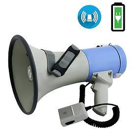 Мегафон 25Вт (50Вт) с сигналом сирены и Li аккумулятором, выносной микрофон