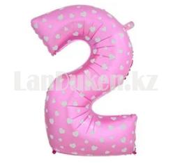 Воздушные шары цифры розовые с сердечками 76 сантиметр, от 0 до 9 - фото 3