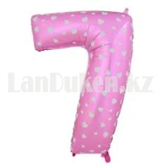 Воздушные шары цифры розовые с сердечками 76 сантиметр, от 0 до 9 - фото 4