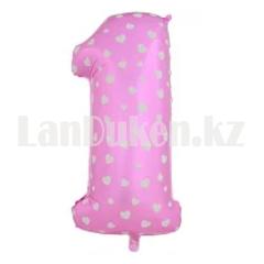 Воздушные шары цифры розовые с сердечками 76 сантиметр, от 0 до 9 - фото 8