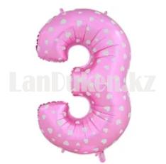 Воздушные шары цифры розовые с сердечками 76 сантиметр, от 0 до 9 - фото 9