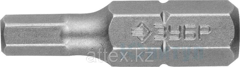 """Биты ЗУБР """"МАСТЕР"""" кованые, хромомолибденовая сталь, тип хвостовика C 1/4"""", HEX4, 25мм, 2шт"""