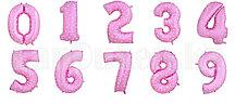 Воздушные шары цифры розовые с сердечками 40 сантиметр, от 0 до 9