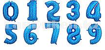 Воздушные шары цифры синие со звездами 40 сантиметр, от 0 до 9