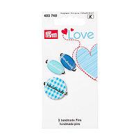 Эмблемы Handmade Prym Love, металл/пластик, синий, упак./3 шт.