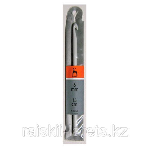 Крючок вязальный d-6.0мм, 15 см PONY 45263