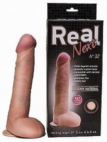 """Фаллоимитатор """"REAL NEXT"""" № 32, на присоске, L 24.0 см, D 4.5 см, киберкожа"""