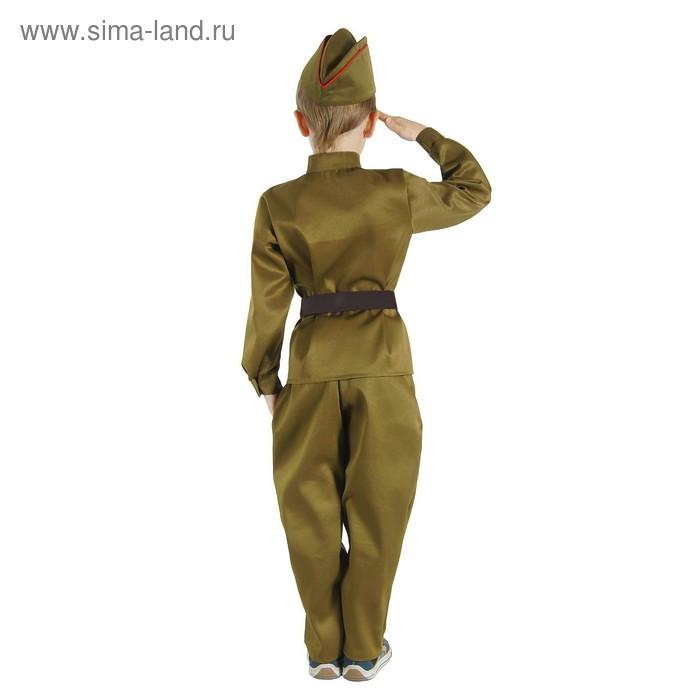"""Детский карнавальный костюм """"Военный"""", брюки, гимнастёрка, ремень, пилотка, р-р 36, рост 140 см - фото 2"""