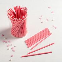 Палочки для кейкпопсов 10x0,2 см, 100 шт, цвет розовый
