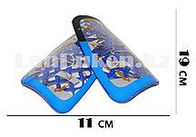 Футбольные щитки под гетры с силиконовой сеткой без резинок, синие