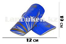 Футбольные щитки под гетры без резинок синие с геометрическими узорами