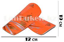 Футбольные щитки под гетры без резинок оранжевые с геометрическими узорами