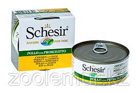 Schesir Консервы для собак цыпленок с ветчиной в желе  150 гр.