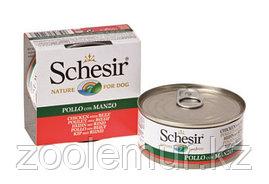 Schesir Консервы для собак цыпленок и говядина в желе 150 гр.