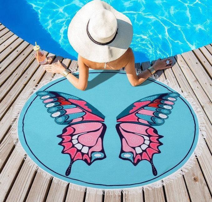 """Полотенце пляжное круглое """"Бабочка"""" (диаметр 120 см)"""