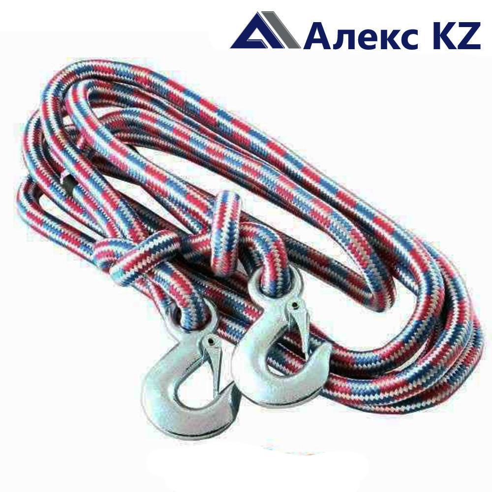 Трос верёвочный №1, 5 тонн, 5 м, 2 крюка, Сибшнур