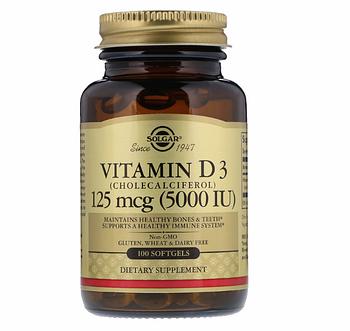 Solgar, Витамин D3, холекальциферол, 5000 МЕ, 100 мягких таблеток